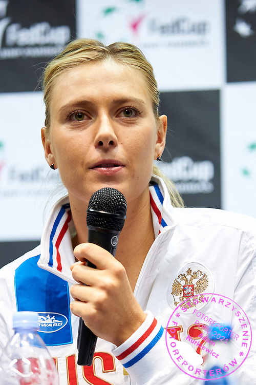 Maria Sharapova from Russia speaks during official press conference three days before the Fed Cup / World Group 1st round tennis match between Poland and Russia at Krakow Arena on February 4, 2015 in Cracow, Poland<br /> Poland, Cracow, February 4, 2015<br /> <br /> Picture also available in RAW (NEF) or TIFF format on special request.<br /> <br /> For editorial use only. Any commercial or promotional use requires permission.<br /> <br /> Mandatory credit:<br /> Photo by &copy; Adam Nurkiewicz / Mediasport