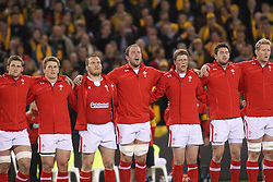 © Licensed to London News Pictures. 16/06/2012. Etihad Stadium, Melbourne Australia. Welsh players sing the national anthem during the 2nd Rugby Test between Australia Wallabies Vs Wales . Photo credit : Asanka Brendon Ratnayake/LNP