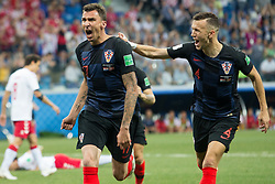 July 1, 2018 - Nizhny Novgorod, Russia - Luka Modric, Ivan Perisic, Mario Mandzuki of Croatia celebrate during the 2018 FIFA World Cup Russia Round of 16 match between Croatia and Denmark at Nizhny Novgorod Stadium on July 1, 2018 in Nizhny Novgorod, Russia. (Credit Image: © Foto Olimpik/NurPhoto via ZUMA Press)