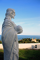 saint peter statue inside the Igreja do Alto da Se with olinda in thze background near recife pernambuco state brazil