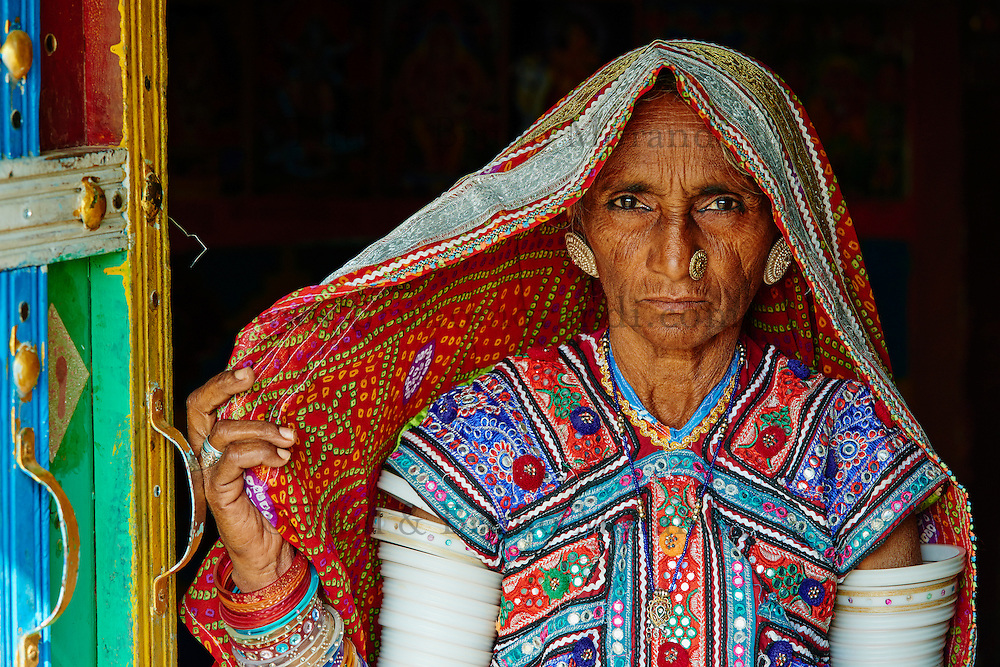 Inde, Gujarat, Kutch, village de Ludia, population d'ethnie Harijan // India, Gujarat, Kutch, Ludia village, Harijan ethnic group