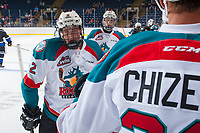 KELOWNA, CANADA - SEPTEMBER 2: Defenseman Cayde Augustine #2 of the Kelowna Rockets celebrates a second period goal against the Victoria Royals on September 2, 2017 at Prospera Place in Kelowna, British Columbia, Canada.  (Photo by Marissa Baecker/Shoot the Breeze)  *** Local Caption ***