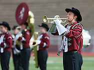 """Tanner Mote plays the trumpet during the Mount Vernon High School Marching Band performance at the State Marching Band Festival at Kingston Stadium in Cedar Rapids on Saturday October 6, 2012. Their program included """"You Can Call Me Al"""", """"Smells Like Teen Spirit"""", """"Clocks"""", and """"The Edge of Glory""""."""