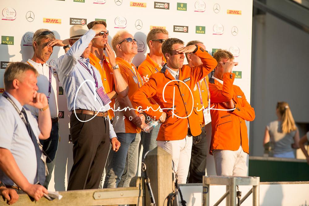 Van der Vleuten Eric, Ehrens Rob, Van Asten Leopold,  Vrieling Jur, Van der Vleuten maikel<br /> Individual competition round 3 and Final Team<br /> FEI European Championships - Aachen 2015<br /> © Hippo Foto - Jon Stroud<br /> 21/08/15