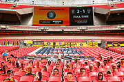 Tribute to Jordan Sinnott in the stand during the Vanarama National League Promotion Final match between Harrogate Town and Notts County at Wembley Stadium, London, England on 2 August 2020.