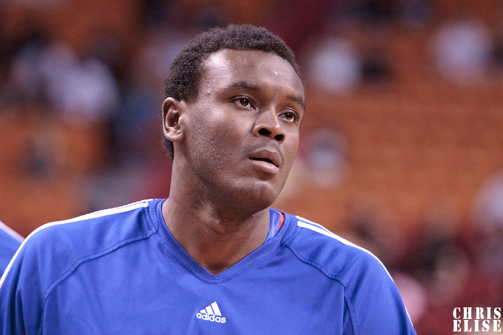 14 March 2010: Philadelphia 76ers center Samuel Dalembert is seen prior to the Miami Heat 100-89 victory over the Philadelphia 76ers at the AmericanAirlines  Arena, in Miami, Florida, USA.