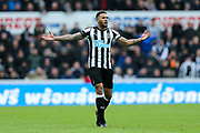 Jamaal Lascelles (#6) of Newcastle United reacts as the ball is thrown away to delay taking a quick throw-in during the Premier League match between Newcastle United and Huddersfield Town at St. James's Park, Newcastle, England on 31 March 2018. Picture by Craig Doyle.