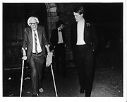 Michael Foot and hon Rupert Soames. Oxford Union. 1980. © Copyright Photograph by Dafydd Jones 66 Stockwell Park Rd. London SW9 0DA Tel 020 7733 0108 www.dafjones.com