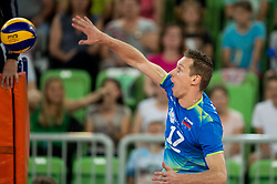 Tine Urnaut of Slovenia during volleyball match between National teams of Slovenia and Portugal in 2nd Round of 2018 FIVB Volleyball Men's World Championship qualification, on May 26, 2017 in Arena Stozice, Ljubljana, Slovenia. Photo by Vid Ponikvar / Sportida