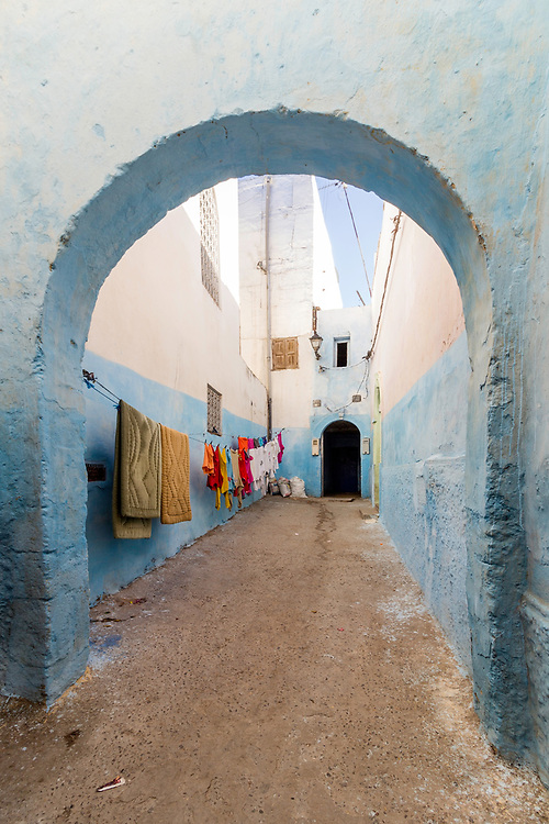 Typical Berber type alleyway, Moroccan town of Azemmour, El Jadida, Morocco.