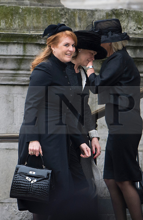 © London News Pictures.17/04/2013. London, UK.  Sarah Ferguson arriving at St Paul's Cathedral in London for The Funeral of former British Prime Minister, Margaret Thatcher on April 17, 2013. Photo credit : Ben Cawthra/LNP