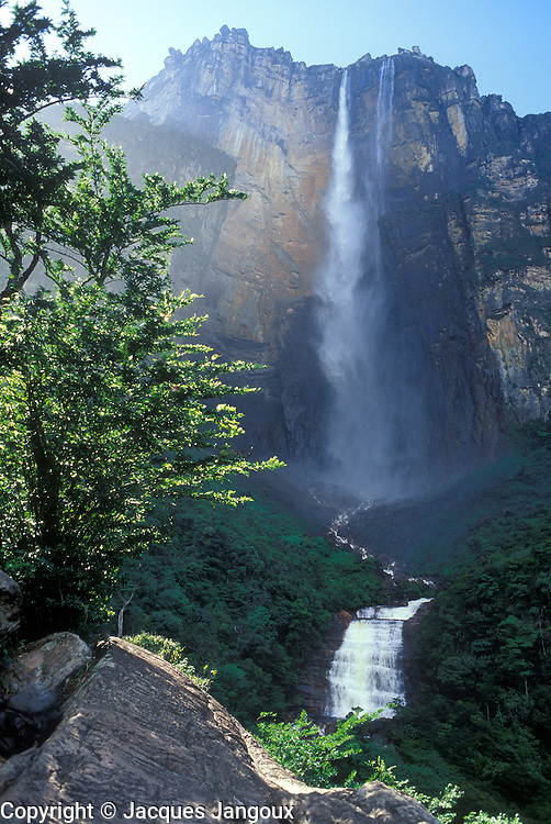Angel Falls (Salto Angel), highest waterfall in world in Canaima National Park, Auyantepui table mountain, Guiana Highlands, Venezuela