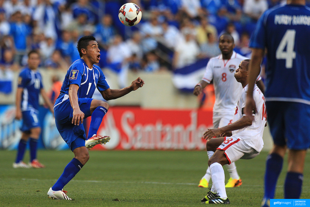Darwin Cerén, El Salvador, in action during the El Salvador Vs Trinidad and Tobago CONCACAF Gold Cup group B football match at Red Bull Arena, Harrison, New Jersey. USA. 8th July 2013. Photo Tim Clayton