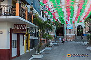 Mexican colored flags at Our Lady of Guadalupe Church in Puerto Vallarta, Mexico