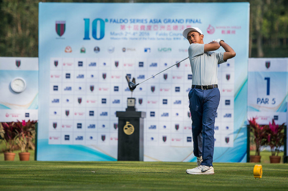Paolo Joaquin Barro of Phillipines in action during day one of the 10th Faldo Series Asia Grand Final at Faldo course in Shenzhen, China. Photo by Xaume Olleros.