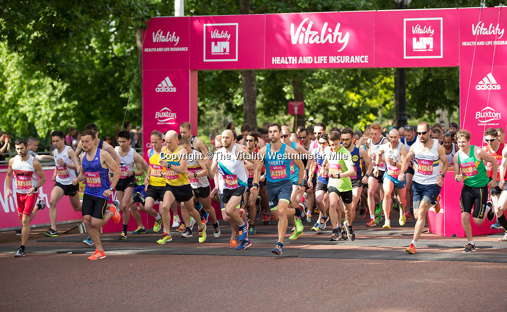 A mass start at The Vitality Westminster Mile, Sunday 28th May 2017.<br /> <br /> Photo: Ben Queenborough for The Vitality Westminster Mile<br /> <br /> For further information: media@londonmarathonevents.co.uk