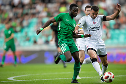 Kingsley Boateng of NK Olimpija Ljubljana and Howard Beverland of FC Crausaders during 1st Leg football match between NK Olimpija Ljubljana and FC Crausaders in 2nd Qualifying Round of UEFA Europa League 2018/19, on July 26, 2018 in SRC Stozice, Ljubljana, Slovenia. Photo by Urban Urbanc / Sportida