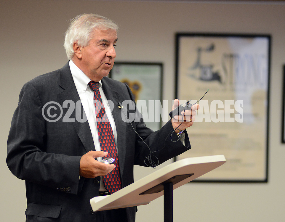 DOYLESTOWN, PA - SEPTEMBER 09: Attorney Alfred J. D'Angelo, Jr. explains the school districts new contract with it's teachers at the Central Bucks school board meeting September 9, 2014 in Doylestown, Pennsylvania. (Photo by William Thomas Cain/Cain Images)