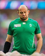 Wembley, Great Britain,  Pre game Rory BEST,   Pool D Game, Ireland vs Romania.  2015 Rugby World Cup, Venue, Wembley Stadium, London, ENGLAND.  Sunday  27/09/2015 <br /> <br /> Mandatory Credit; Peter Spurrier/Intersport-images]