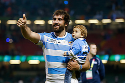 Argentina Flanker Juan Martin Fernandez Lobbe and his son celebrate after Argentina win the match - Mandatory byline: Rogan Thomson/JMP - 07966 386802 - 18/10/2015 - RUGBY UNION - Millennium Stadium - Cardiff, Wales - Ireland v Argentina - Rugby World Cup 2015 Quarter Finals.
