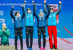02.03.2019, Seefeld, AUT, FIS Weltmeisterschaften Ski Nordisch, Seefeld 2019, Siegerehrung, im Bild Bronzemedaillengewinner Anna Odine Stroem (NOR), Robert Johansson (NOR), Maren Lundby (NOR), Andreas Stjernen (NOR) // Bronzemedaillengewinner Anna Odine Stroem (NOR) Robert Johansson (NOR) Maren Lundby (NOR) Andreas Stjernen (NOR) during the winner Ceremony for the FIS Nordic Ski World Championships 2019. Seefeld, Austria on 2019/03/02. EXPA Pictures © 2019, PhotoCredit: EXPA/ Stefan Adelsberger