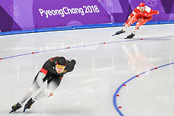 February 23, 2018 - Pyeongchang, Gangwon, South Korea - Konrad Niedzwiedzki of  Poland and Nico Ihle of  Germany at 1000 meter speedskating at winter olympics, Gangneung South Korea on February 23, 2018. (Credit Image: © Ulrik Pedersen/NurPhoto via ZUMA Press)