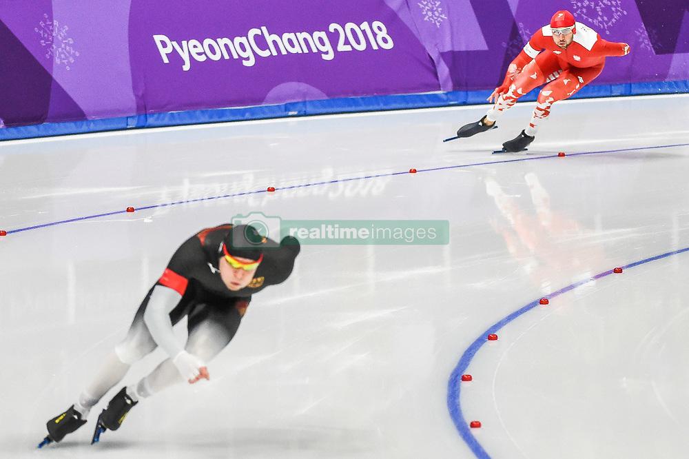 February 23, 2018 - Pyeongchang, Gangwon, South Korea - Konrad Niedzwiedzki of Poland and Nico Ihle of Germany at 1000 meter speedskating at winter olympics, Gangneung South Korea on February 23, 2018. (Credit Image: © Ulrik Pedersen/NurPhoto via ZUMA Press)