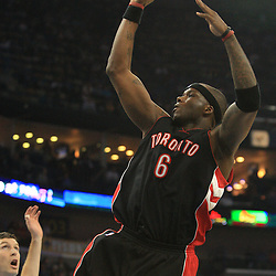 06 February 2009: Toronto Raptors center Jermaine O'Neal (6) shoots over New Orleans Hornets forward David West (30) and Ryan Bowen (40) during a NBA game between the New Orleans Hornets and the Toronto Raptors at the New Orleans Arena in New Orleans, LA.