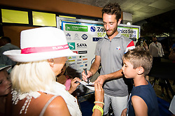 Winner Constant Lestienne (FRA) in press corner after the Trophy ceremony after the Final Singles match at Day 9 of ATP Challenger Zavarovalnica Sava Slovenia Open 2018, on August 11, 2018 in Sports centre, Portoroz/Portorose, Slovenia. Photo by Vid Ponikvar / Sportida