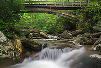 The headwaters of Upper Boone Fork cascade beneath a wooden bridge carrying hikers along the Tanawha Trail in Western North Carolina's Blue Ridge Mountains.