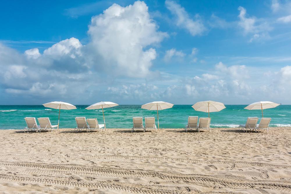 Five Umbrellas on South Beach, Miami