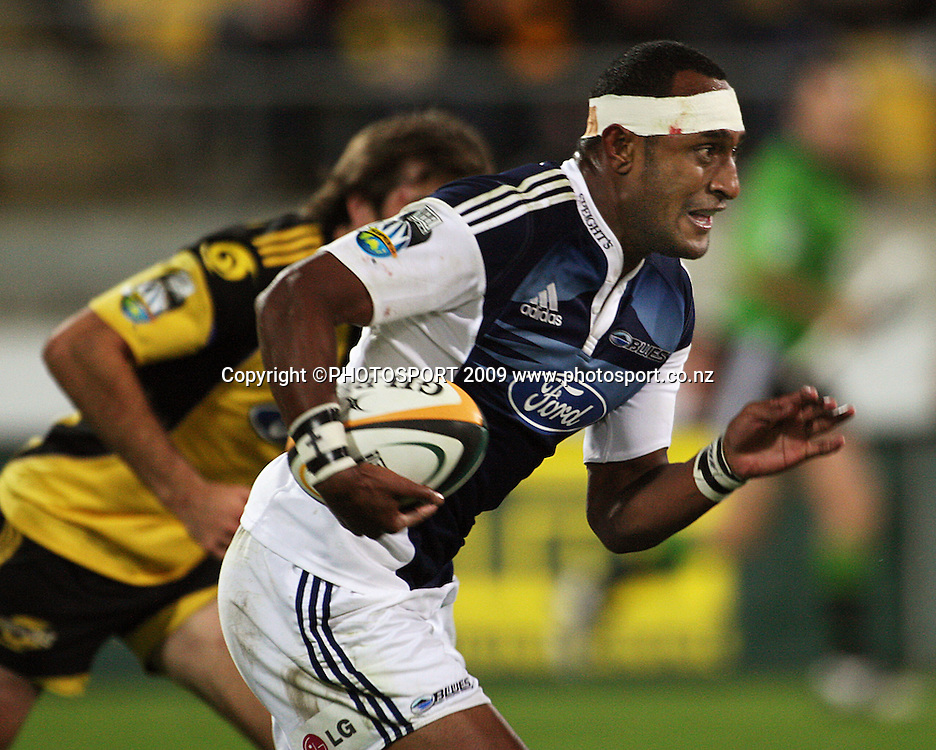 Blues winger Joe Rokocoko.<br /> Super 14 rugby union match - Hurricanes v Blues, Westpac Stadium, Wellington, New Zealand. Friday 1 May 2009. Photo: Dave Lintott/PHOTOSPORT