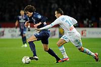 FOOTBALL - FRENCH LEAGUE CUP 2012/2013 - 1/8 FINAL - PARIS SAINT GERMAIN v OLYMPIQUE MARSEILLE - 31/10/2012 - PHOTO JEAN MARIE HERVIO / REGAMEDIA / DPPI - ADRIEN RABIOT (PSG) / MORGAN AMALFITANO (OM)