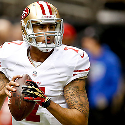 Nov 17, 2013; New Orleans, LA, USA; San Francisco 49ers quarterback Colin Kaepernick (7) prior to a game against the New Orleans Saints at Mercedes-Benz Superdome. Mandatory Credit: Derick E. Hingle-USA TODAY Sports