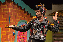 "© Licensed to London News Pictures. 05/08/2015. London, UK. Simon Webbe as Wolf. West End premiere of the children's story ""The 3 Little Pigs"" at the Palace Theatre starring Simon Webbe as Wolf, Alison Jiear as Mother, Leanne Jones as Bee, Taofique Folarin as Bar and Daniel Buckley as Q. The show runs from 5 August to 6 September 2015. Photo credit: Bettina Strenske/LNP"
