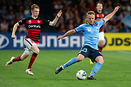 SYDNEY, AUSTRALIA - OCTOBER 26: Sydney FC defender Rhyan Grant (23) passes the ball during the round 3 A-League soccer match between Western Sydney Wanderers FC and Sydney FC on October 26, 2019 at Bankwest Stadium in Sydney, Australia. (Photo by Speed Media/Icon Sportswire)
