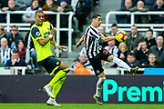 Miguel Almiron (#24) of Newcastle United crosses the ball in the build up to Newcastle United's second goal during the Premier League match between Newcastle United and Huddersfield Town at St. James's Park, Newcastle, England on 23 February 2019.