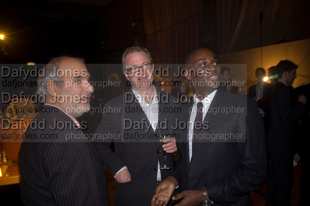 ALAN YENTOB, HARRY ENFIELD AND EKOW ESHUN, Figures of Speech ICA Fundraising Gala dinner. Lawrence Hall, Victoria. London. 27 February 2008 *** Local Caption *** -DO NOT ARCHIVE-© Copyright Photograph by Dafydd Jones. 248 Clapham Rd. London SW9 0PZ. Tel 0207 820 0771. www.dafjones.com.