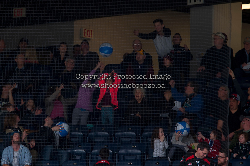 KELOWNA, CANADA - FEBRUARY 13: Tommy Guns beach balls fall into the crowd on family day on February 13, 2017 at Prospera Place in Kelowna, British Columbia, Canada.  (Photo by Marissa Baecker/Shoot the Breeze)  *** Local Caption ***