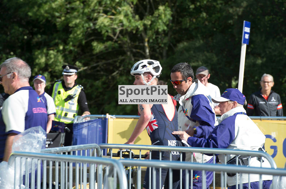 Great Britain's Marc Austin receives help after colliding with a referee in the Men's Elite Standard Race, ETU Triathlon,  European Championships, Strathclyde Park, Motherwell Scotland, Friday 10 August 2018, (c) Angie Isac | SportPix.org.uk