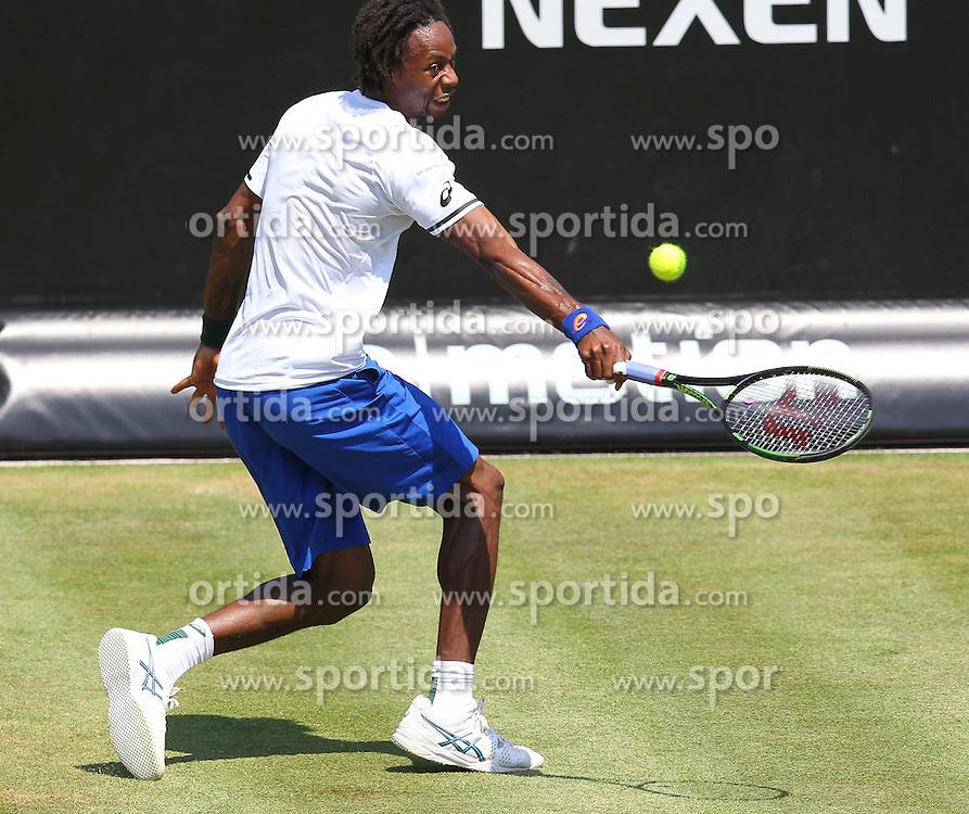 12.06.2015, Tennis Club Weissenhof, Stuttgart, GER, ATP Tour, Mercedes Cup Stuttgart, im Bild Gael Monfils ( FRA ) // during the Mercedes Cup of ATP world Tour at the Tennis Club Weissenhof in Stuttgart, Germany on 2015/06/12. EXPA Pictures &copy; 2015, PhotoCredit: EXPA/ Eibner-Pressefoto/ Langer<br /> <br /> *****ATTENTION - OUT of GER*****