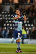 Wycombe Wanderers Midfielder, Scott Kashket (24) goalscorer celebrates at the final whistle during the EFL Sky Bet League 2 match between Wycombe Wanderers and Hartlepool United at Adams Park, High Wycombe, England on 26 November 2016. Photo by Adam Rivers.
