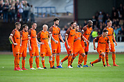 Dundee United players react to winning the penalty shoot-out during the Betfred Scottish Cup group stage match between Dundee and Dundee United at Dens Park, Dundee, Scotland on 29 July 2017. Photo by Craig Doyle.
