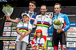 Podium / Romain Bardet of France Silver Medal / Alejandro Valverde of Spain Gold medal / Michael Woods of Canada Bronze Medal / Celebration / during the Men Elite Road Race a 258.5km Race from Kufstein to Innsbruck 582m at the 91st UCI Road World Championships 2018 / RR / RWC / on September 30, 2018 in Innsbruck, Austria. Photo by Vid Ponikvar / Sportida