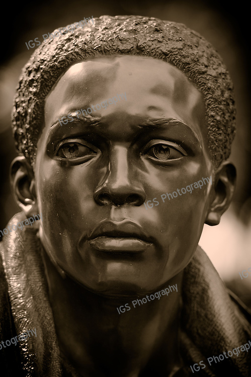The African American (US Army) member  of The Three soldiers Memorial located at the Vietnam war verterans memorial