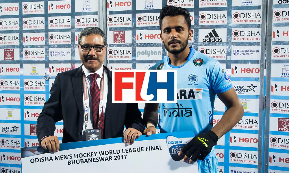 BHUBANESWAR - Hockey World League finals Match for bronze , Germany v India (1-2). Harmanpreet Singh (Ind) . COPYRIGHT KOEN SUYK