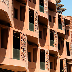 Accomodation block at Masdar City new research centre incorporating Masdar Institue of Science and Technology for developing clean and renewable energy in Abu Dhabi UAE