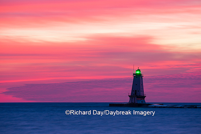 64795-01012 Ludington North Pierhead Lighthouse at sunset on Lake Michigan, Mason County, Ludington, MI