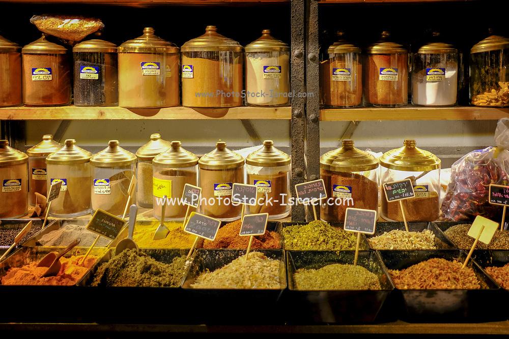 Israel, Tel Aviv, Lewinski market, Spice and herb shop in the narrow street
