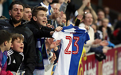 A Blackburn Rovers supporters celebrates the victory at full-time with Bradley Dack's match shirt - Mandatory by-line: Joe Dent/JMP - 19/04/2018 - FOOTBALL - Ewood Park - Blackburn, England - Blackburn Rovers v Peterborough United - Sky Bet League One